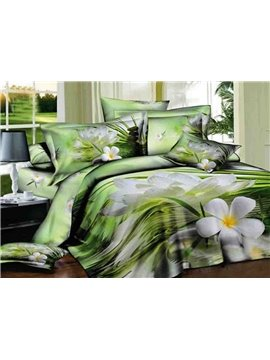 Pretty White Flower on Water Print 4-Piece 3D Duvet Cover Sets