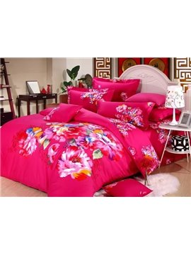 Fresh Color Flower Oil Painting Print 4-Piece 3D Duvet Cover Sets