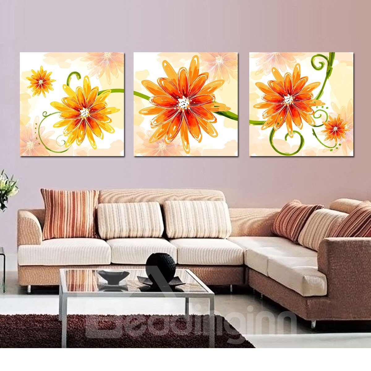 Fancy Orange Flowers Film Art Wall Print