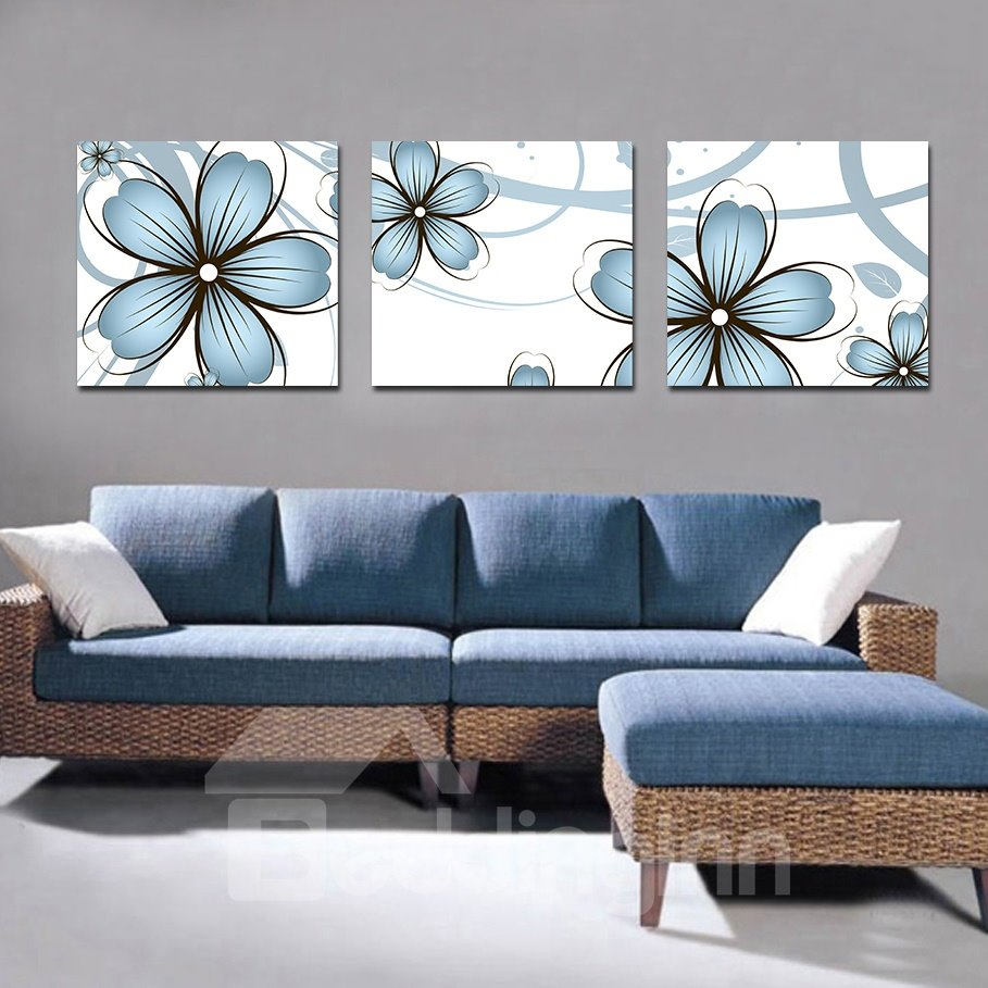 Cute Blue Flowers Print Film Art Wall Print
