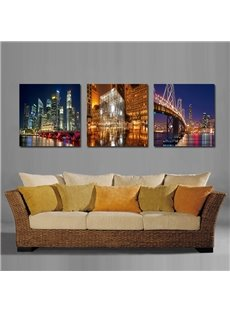Great Night Scene of Modern City Film Art Wall Print