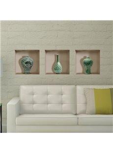 Stunning Flower Vase Ornament Pattern 3D Wall Stickers