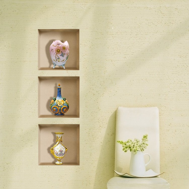 Charming Vase Ornaments Print 3-panel Home Decorative 3D Wall Stickers
