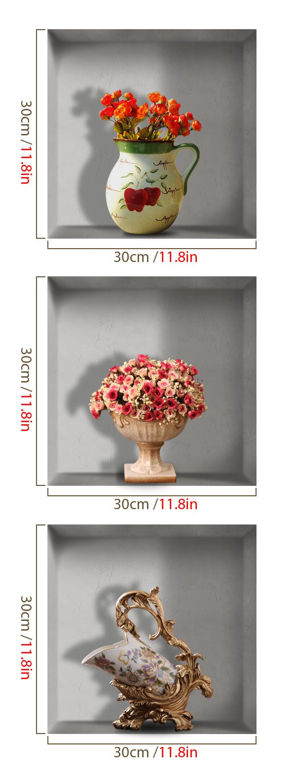 Pretty 3D Flower Vase and Wine Rack Pattern Wall Stickers