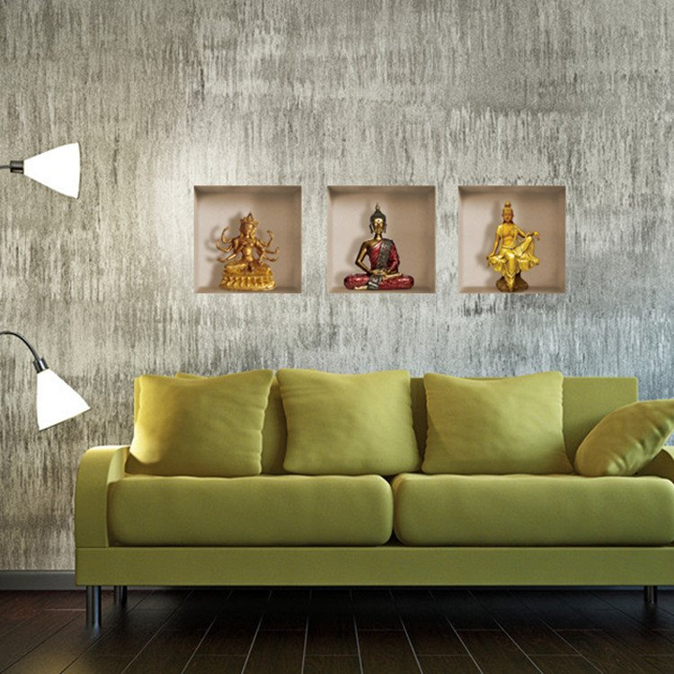 Beautiful 3D Buddha Patterns Home Decorative Wall Stickers