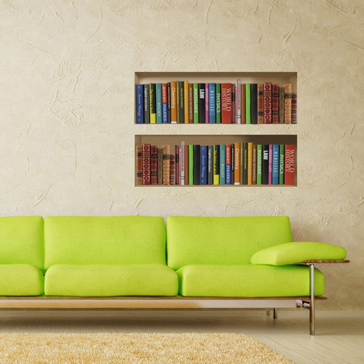 Creative Book and Book Shelf Pattern 3D Wall Stickers
