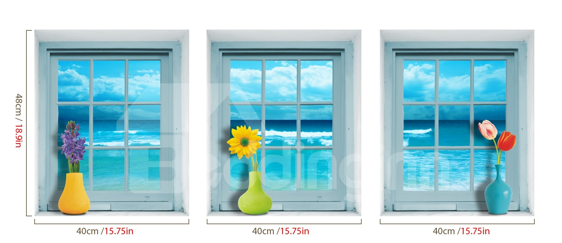 Blue Stunning Window and Flower Vase Pattern 3 Pieces Wall Stickers