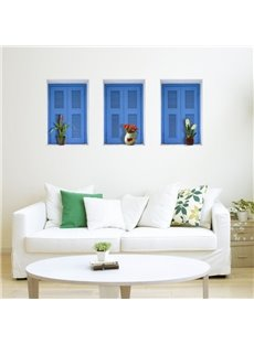 Beautiful Window and Flower Vase Pattern Wall Stickers