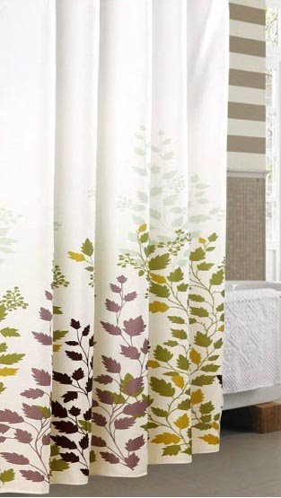 New Arrival Graceful Elegant Leaves Printing Shower Curtain