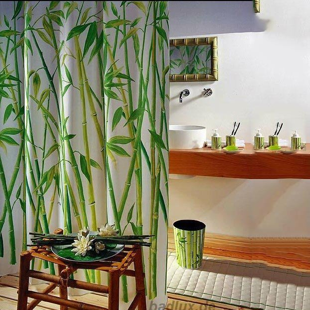 3D Bamboo Forest Printed Green Bathroom Shower Curtain