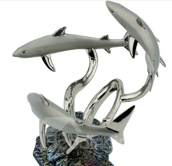 New Arrival Graceful European Silver Colored Enamel Shark Wine Rack