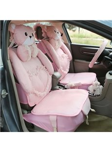 Cute Bear With Solid Color Ice Silk Car Seat Cover