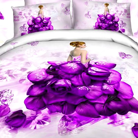 3D Girl Wearing Blue Rose Dress Printed Cotton 4-Piece Bedding Sets