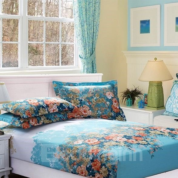 Splendid and Colorful Flowers Pattern Blue Polyester Fitted Sheet
