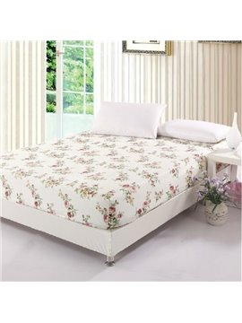 Quality Delicate Charming Colorful Flowers Print Fitted Sheet