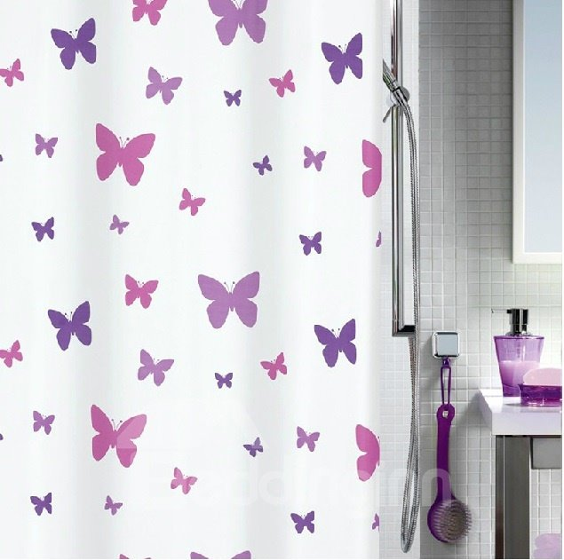 New Arrival Elegant Butterflies Printing Shower Curtain