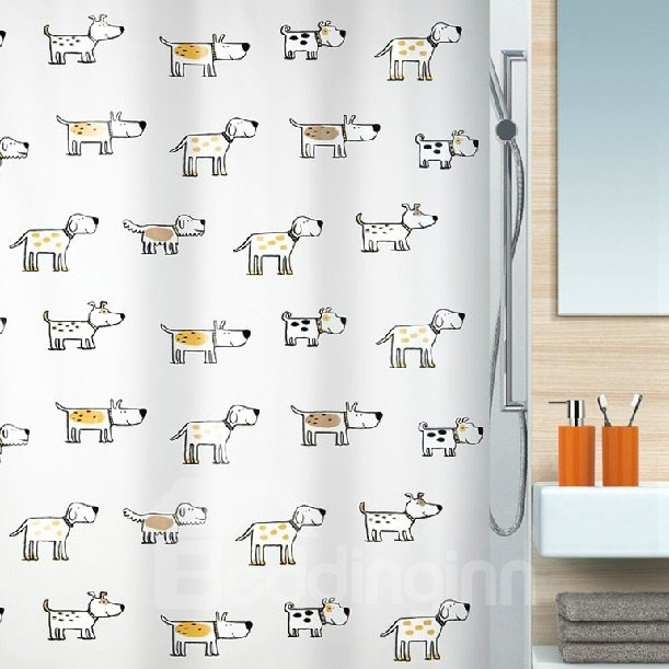High Quality Cute Dogs Design Shower Curtain
