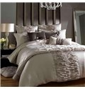 Luxury Courtly Beige Lace Trim Cotton Satin Drill Duvet Cover Sets
