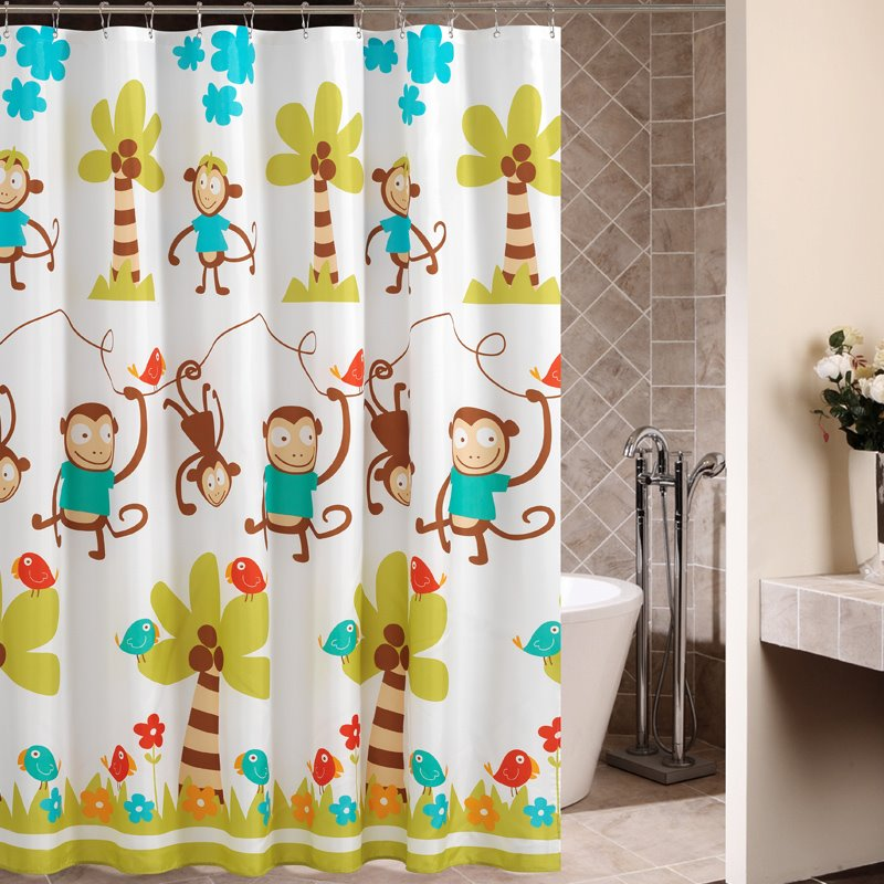 High Quality Cartoon Monkey Pattern Shower Curtain