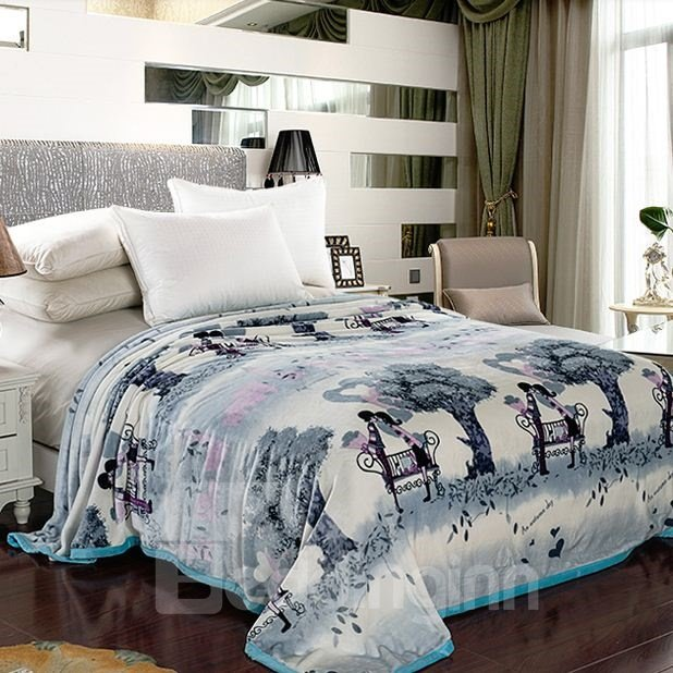 Quality Fairy Tale Beautiful Scenery Print Coral Velvet Blanket