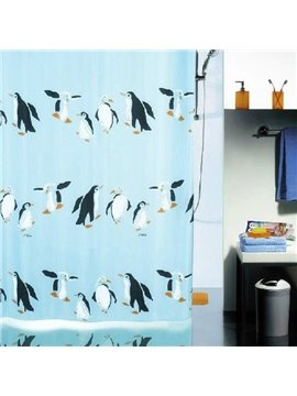 New Arrival Fabulous Cartoon Penguin Printing Shower Curtain