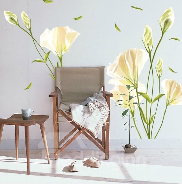 Pretty Fresh Lily Flowers Pattern Wall Stickers
