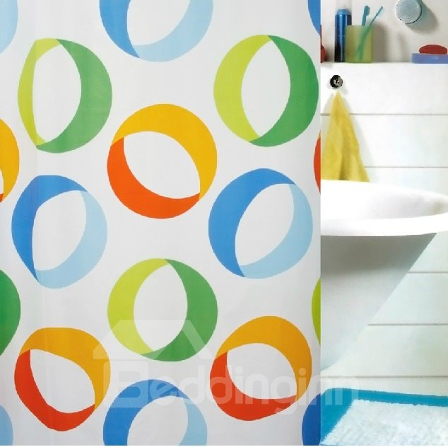 High Quality Pretty Colorful Rings Printing Shower Curtain