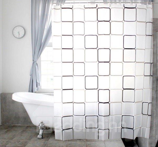 New Style Unique Black And White Checks Shower Curtain
