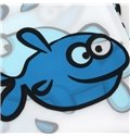 New Style Cute Blue Fishes Printing Shower Curtain