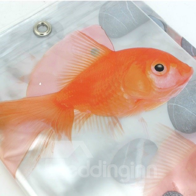 High Quality Hyaline Pretty Goldfish Printing Shower Curtain