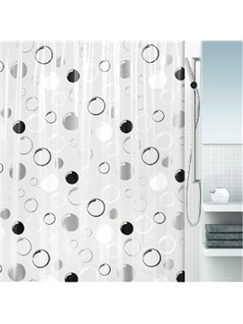 High Quality Black White Gray Bubble Pattern Shower Curtain