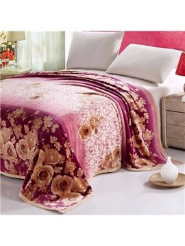 Quality Adorable Golden Roses Floral Flannel Blanket