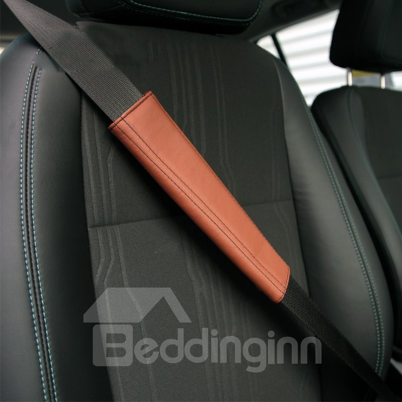 Durable Solid Color PU Leather Car Seat Belt Cover