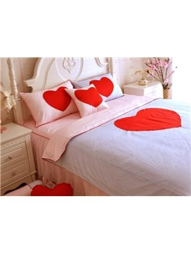 Lovely Red Heart Print 4-Piece Princess Duvet Cover Sets