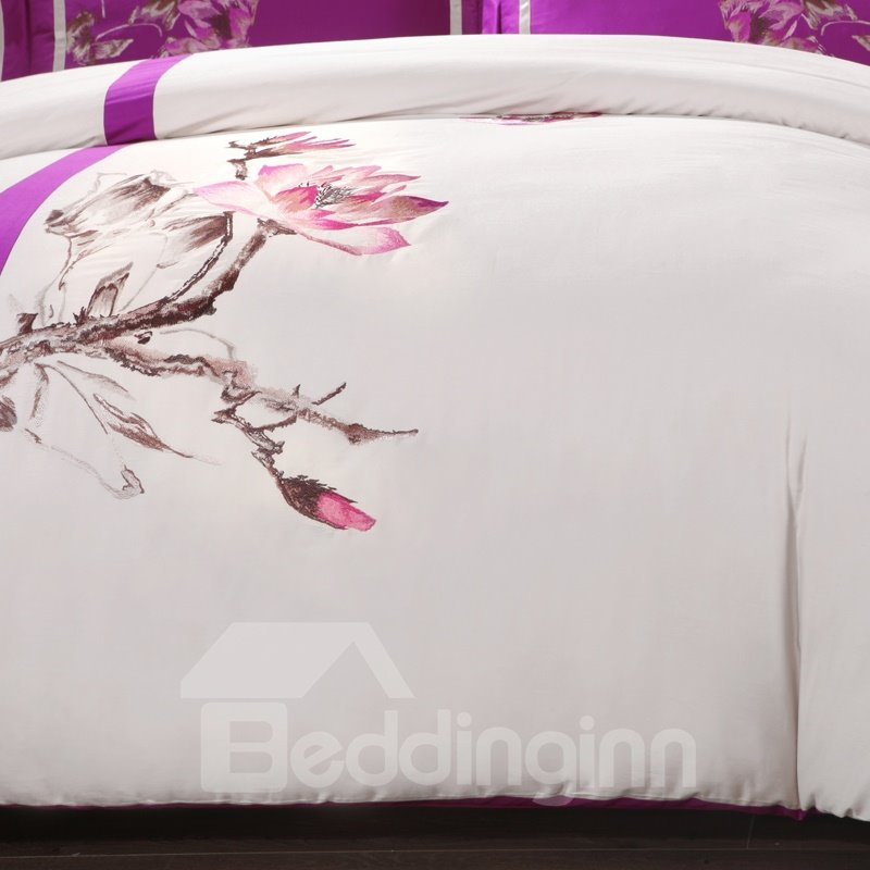 Noble Elegant Flower Embroidered 4-Piece Cotton Duvet Cover Sets
