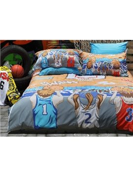 Street Basketball Print  3-Piece Cotton Duvet Cover Sets