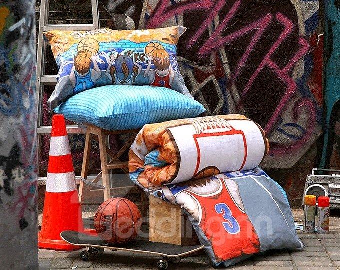 Street Basketball Print  3-Piece Cotton Duvet Cover Sets