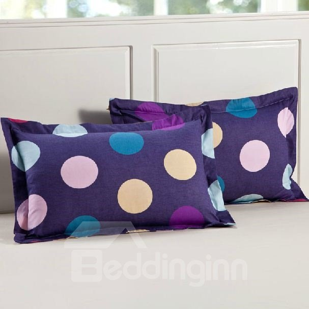Splendid Colorful Polka Dot Design Full Cotton Pillowcase