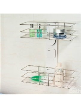 New Arrival Unique Stainless Steel Double Layers Wall Mounted Bathroom Shelf