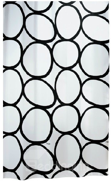 High Quality Fashion Black Ellipse Pattern Shower Curtain