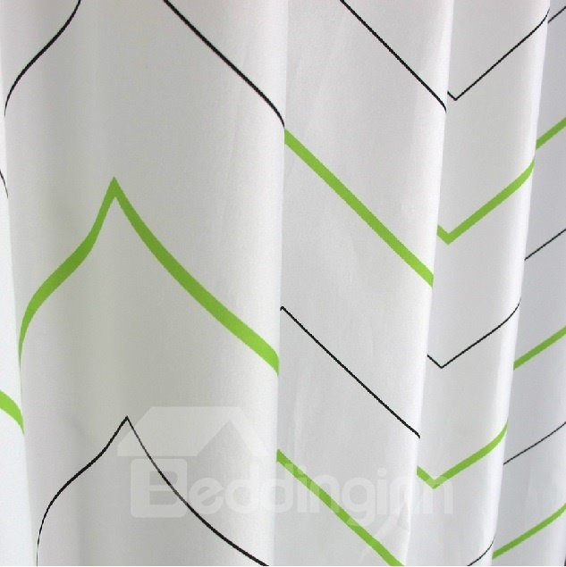 High Quality Fashion Black And Green Polygonal Line Polyester Shower Curtain