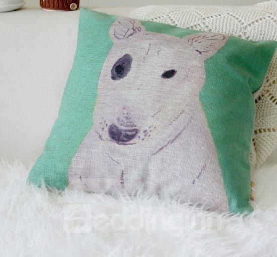 Quality Cute Dog Pattern Linen Throw Pillow