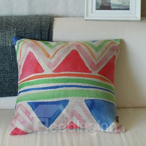 Gorgeous Colorful Geometric Figure Watercolor Throw Pillow