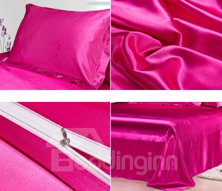 Noble Bright Fuchsia 4-Piece Silk Duvet Cover Sets