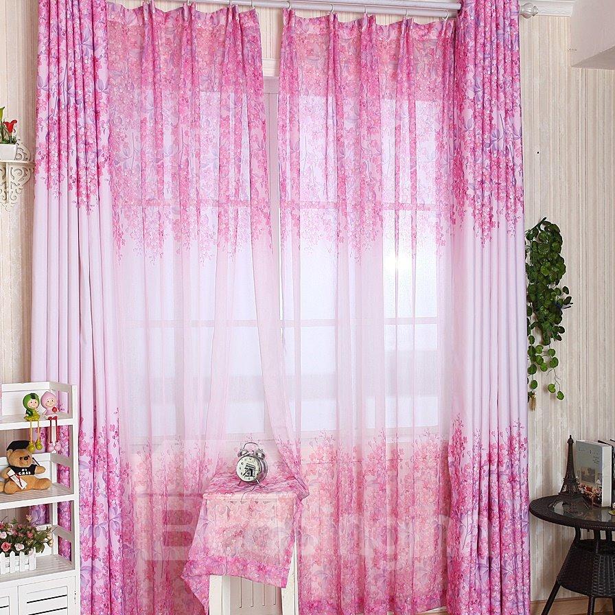 Attractive Elegant Pink Floral Printing Custom Sheer Curtain