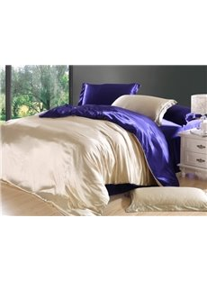 Soft Camel and Drak Purple 4-Piece Cellosilk Duvet Cover Sets