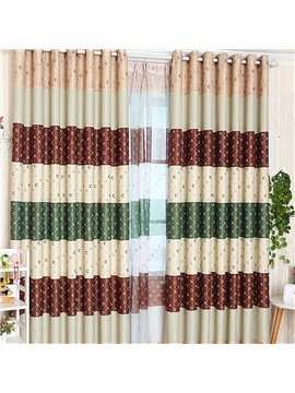 Fashion English Letters Pattern Grommet Top Two-piece Custom Curtain