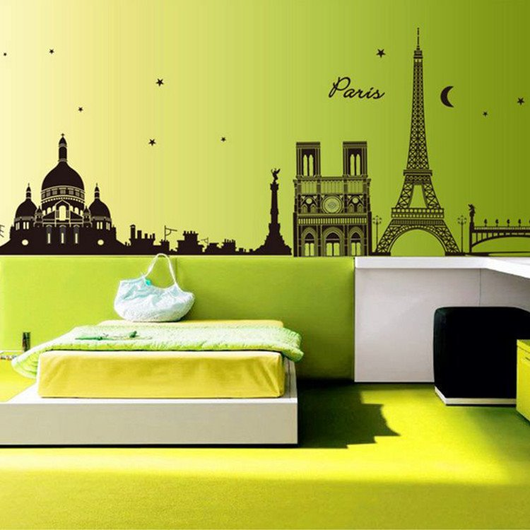 Fashionable Creative Towers Silhouette Wall Stickers