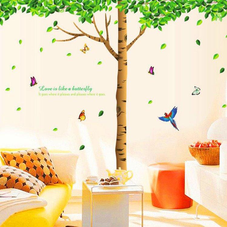 Fancy Green Tree and Birds Pattern Wall Stickers