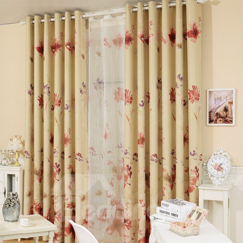 Concise and Elegant with Chrysanthemum Grommet Top Custom Curtain